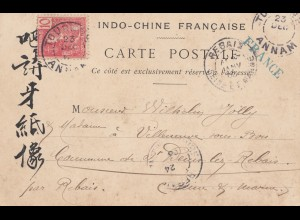 French colonies: Indo-chine 1909: post card Tourane to France