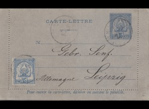 French colonies: Tunisie: carte-lettre to Leipzig 1895