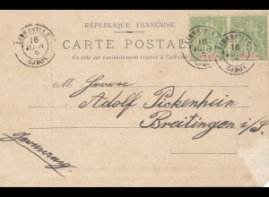 French colonies: Gabun Libreville 1905 post cardc to Breitingen