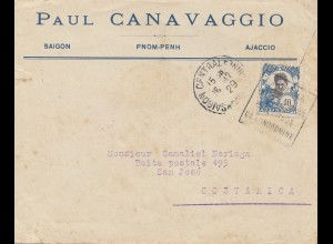 French colonies: Indo-chine 1929: letter Saigon to San José, Costa Rica