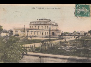 French colonies: Indo-chine 1908: post card Tonkin to Lyon