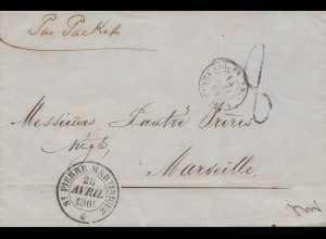 French colonies: Martinique - St. Pierre 1864 to Marseille