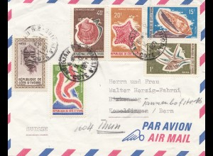 French colonies: Ivory coast: 1971 par avion to Bern, forwarded to Thun