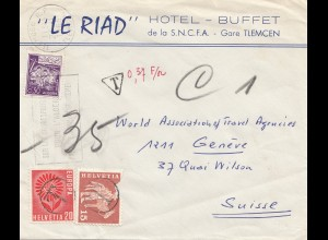 French colonies: Algerie: Tlemcen 1965 to Switzerland Genf - Taxe