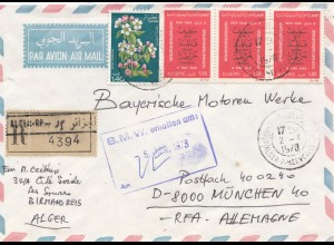 French colonies: Algerie air mail Alger 1978 registered to BMW Munich