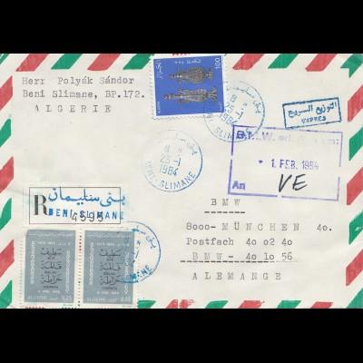 French colonies: Algerie 1984 par avion registered to BMW München