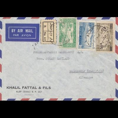 French colonies: Syrien: 1951 Hermes Typing machines: Alep to Waldershof