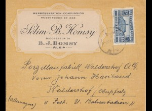 French colonies: Syrienne: Alep 1937 by air mail to Walderhof, Porzellanfabrik