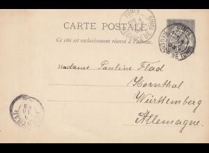 French colonies: Tunesie 1893: carte postale Tuinis to Korntal