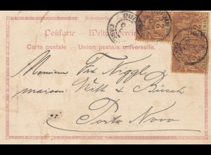 French colonies: Benin 1901: post card Schutzgebiet TOGO Nr. 59 to Porto Novo