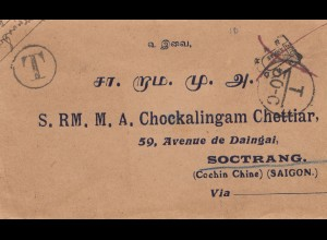 French colonies: Indo-chine: letter to Soctrang, Taxe