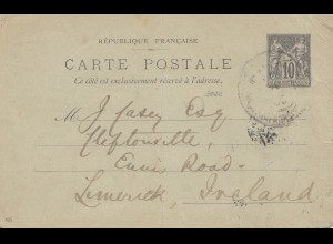 French occupation: 1927 Kreta: post card to Ireland