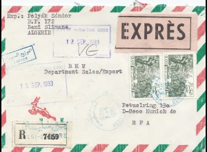 French colonies: Algerie: 1983 registered express Beni Slimane to BMW München
