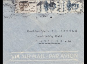French colonies: Madagascar 1952: letter to Hamburg via air mail