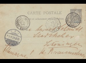 French colonies: Congo: 1897 post card Libreville to Schöningen