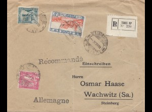 French colonies: Tunisie: registered Tunis to Wachwitz 1927