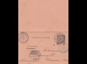 French colonies: Cogo 1895: post card Libreville to Minden
