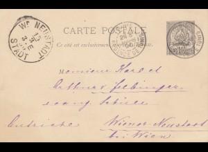 French colonies: Tunisie 1890 post card Tunis to Wiener-Neustadt