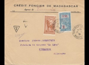 French colonies: Madagascar 1939: letter Tananarive to Nürnberg, Bleistiftfabrik