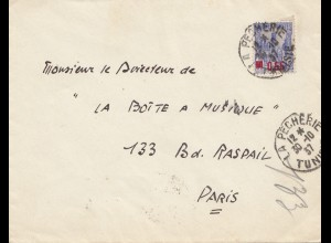 French colonies: Tunisie 1937 Pecherie to Paris