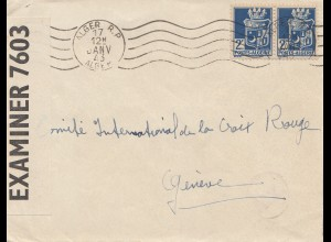 French colonies: Algerie: 1943 Alger to Genf-Croix Rouge, Examiner/censor