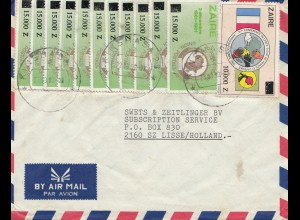 Belgian colonies: Zaire: 1992: air mail to Lisse/Holland