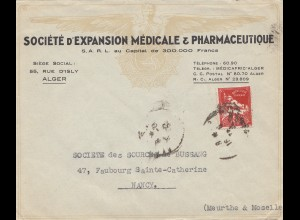 French colonies: Algerie: letter Societe Medicale/Pharmacie to Nancy