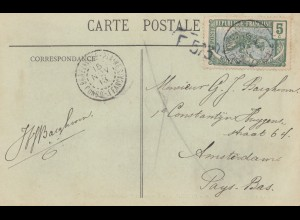 French colonies Congo 1913 post card No2, Sternwheel Brazzaville / Amsterdam