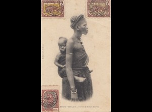 French colonies Congo 1907: post card Brazzaville Femme et entfant