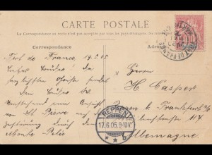 French colonies Martinique: 1905 post card St.Pierre, Place Berlin to Reppen