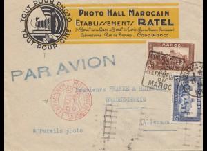 French colonies Maroc 1934: Casablanca Mit Luftpost Hannover to Braunschweig