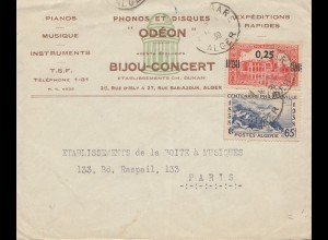 French colonies Algerie 1939 Alger to Paris- Odéon Phonos/Disques