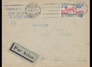 French colonies Tunisie 1935: par avion Air France from Tunis to Paris