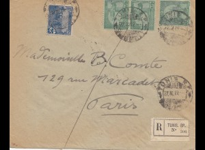 French colonies Tunisie 1919 Registered Tunis to Paris