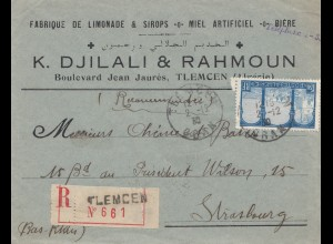 French colonies Algerie 1930: Registered tlemcen to Strasbourg