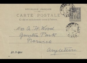 French colonies Algerie 1901: post card to England