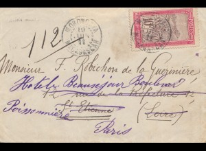 French colonies Madagascar 1911: Morondava letter to Paris