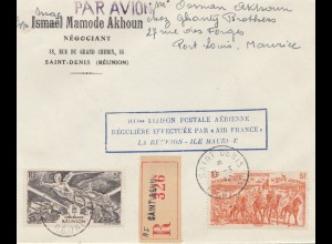 French colonies Reunion 1947 Saint-Denis Liaison Postale Aerienne, registered