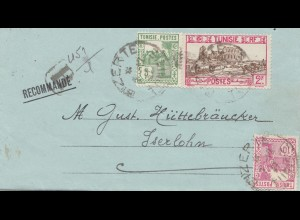 French colonies Tunisie 1937: small lette from Tunis to Iserlohn