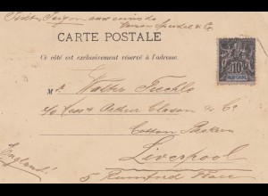 French colonies Indo-chine post card Saigon to Liverpool