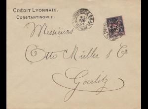 French colonies: Turquie 1901 Constantinople to Görlitz, Perfin