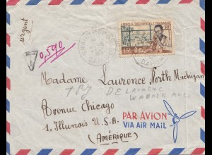 French colonies: Ivory coast Grand Popo 1957 to Chicago, Taxe, Postage due