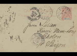 French colonies: Indo-chine 1903: post card Haiphon to Saigon