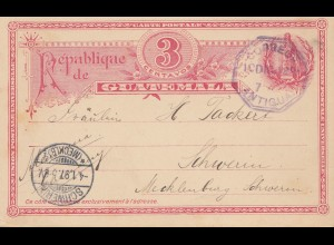 Guatemala: 1897: Antigua post card to Schwerin