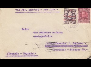 Guatemala: 1929: via Pto. Barrios - New York to Tribunal Bischofswerda/Germany