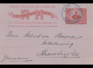 Haiti: 1912 Port au Price carte postale to Strasbourg