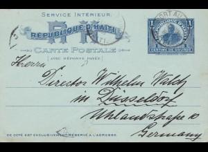 Haiti: 1903: answer card Port au Prince to Düsseldof