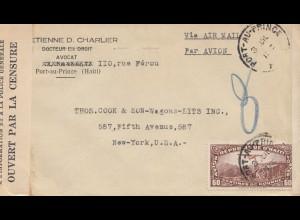 Haiti: 1942: Port au Prince via Air Mail Thomas Cook to New York - censor