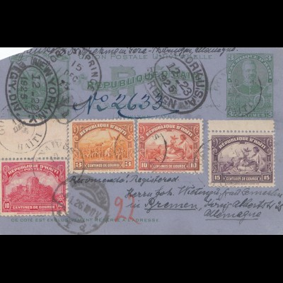 Haiti: 1925: carte postale Port au Prince to Bremen via New York