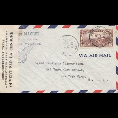 Haiti: 1942: Port aus Prince to New York, ouvert par la censure